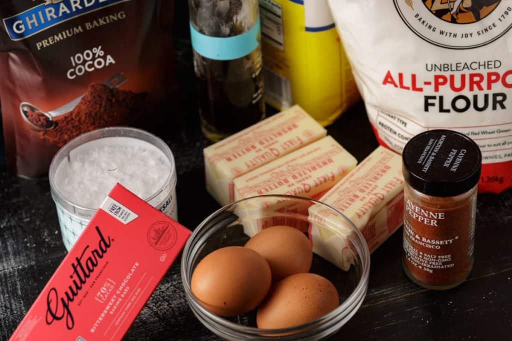 ingredients for fudge brownies