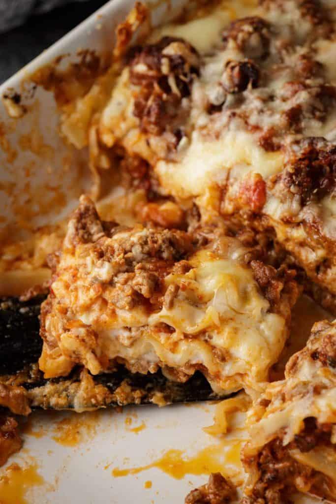 A serving of homemade lasagna