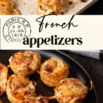 French appetizers made with puff pastry on a baking sheet and serving platter