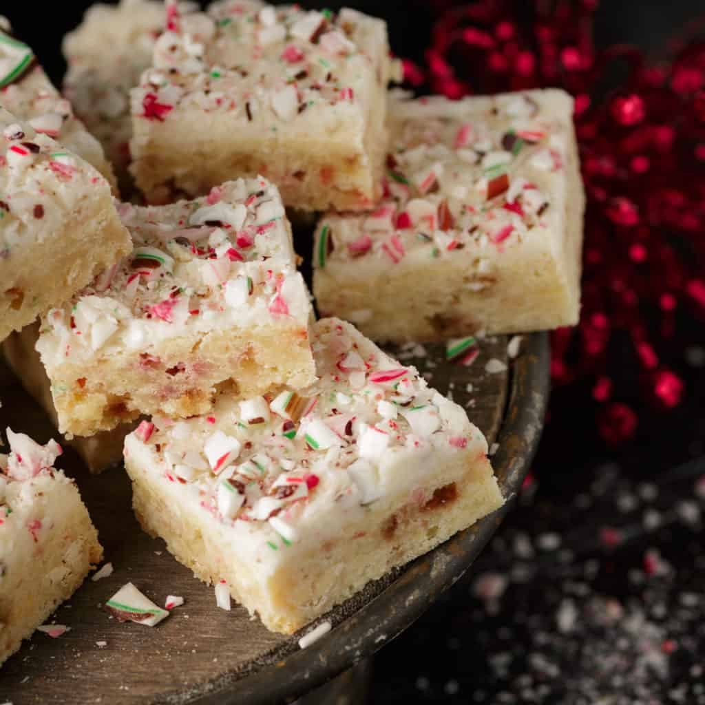 A cake stand of peppermint blondies