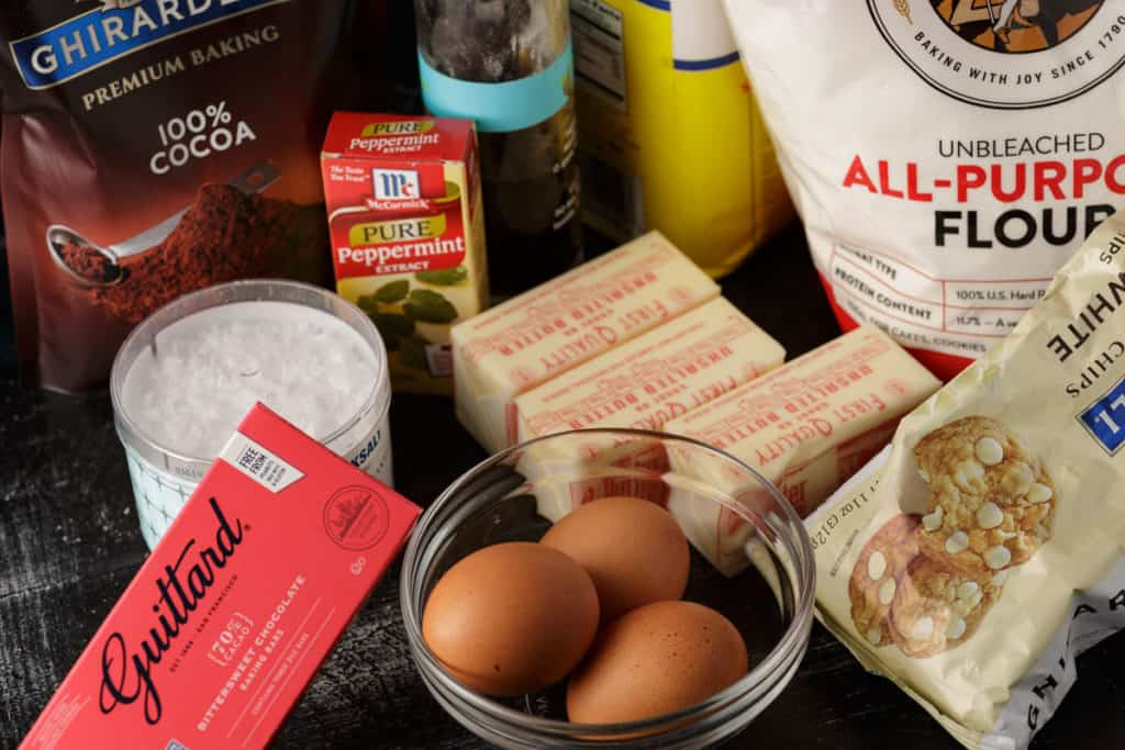 The ingredients for peppermint brownies