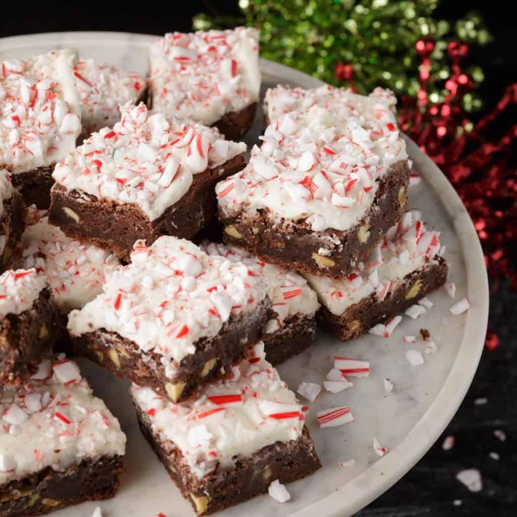 A platter of peppermint brownies