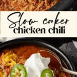 Slow cooker chicken chili in a bowl with toppings