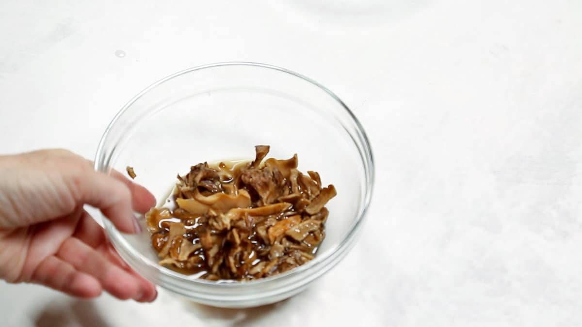 Dried mushrooms in chicken broth