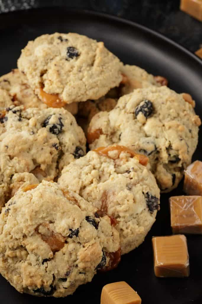 A platter of blueberry white chocolate caramel cookies