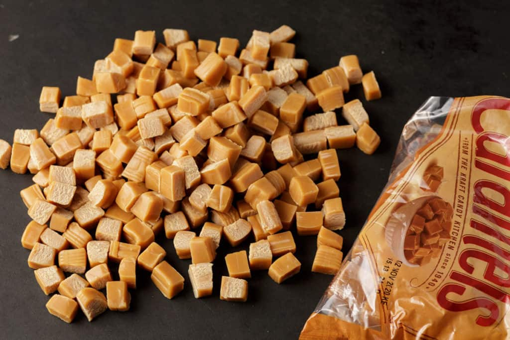 Caramel squares that have been cut into fourths