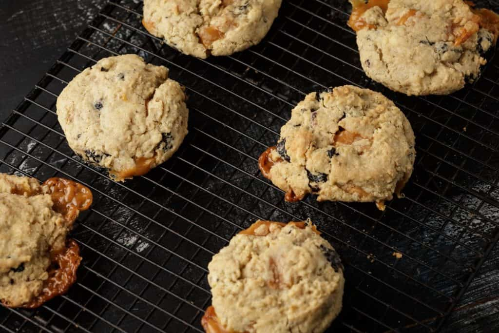 Baked oatmeal cookies with caramel oozing out