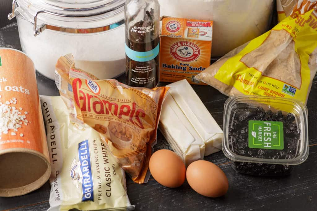 ingredients for blueberry white chocolate cookies