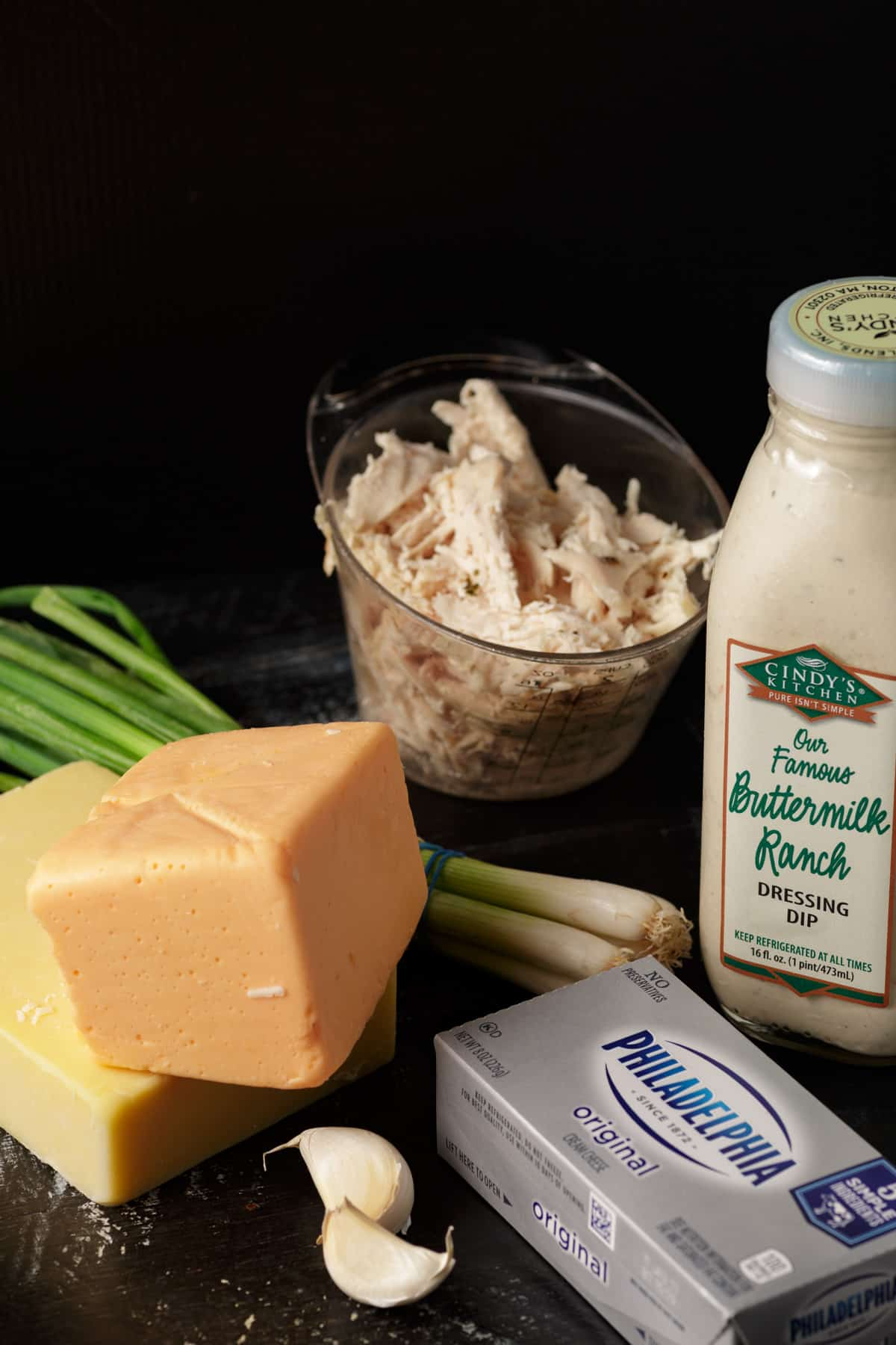 Ingredients for baked buffalo chicken dip