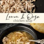 A bowl of chicken soup with shredded chicken