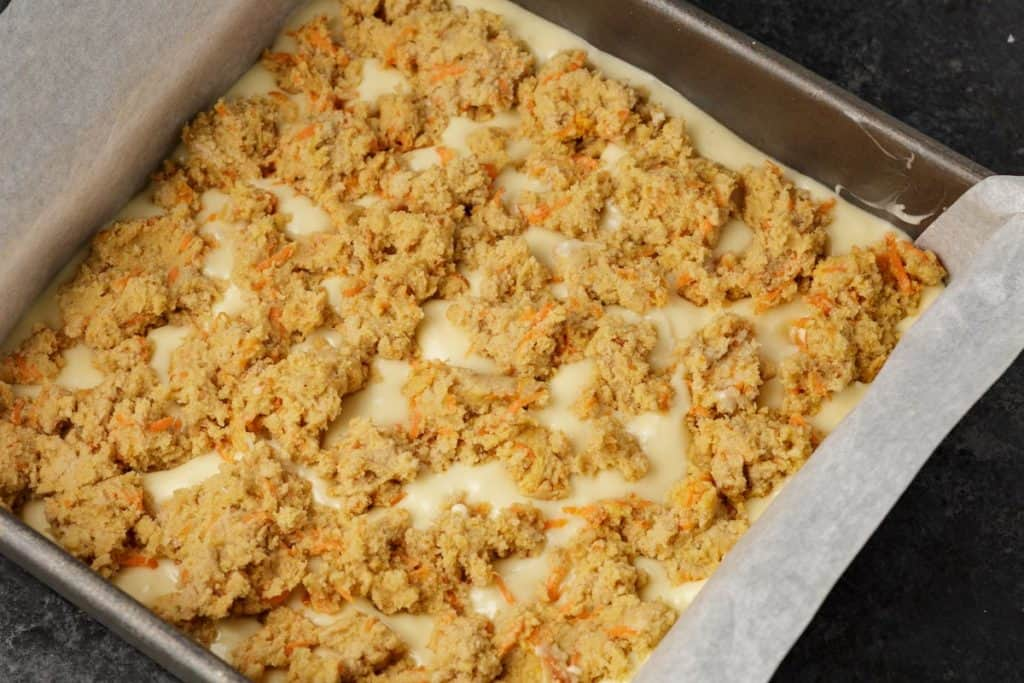 Carrot cheesecake bars before baked
