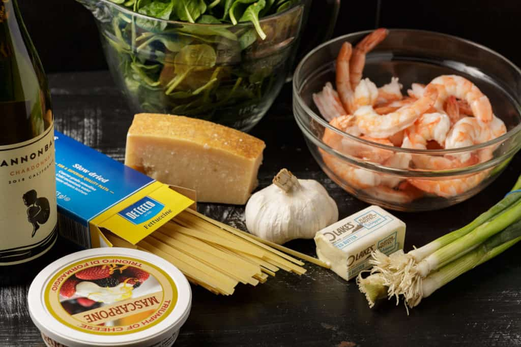 ingredients for past with shrimp and spinach