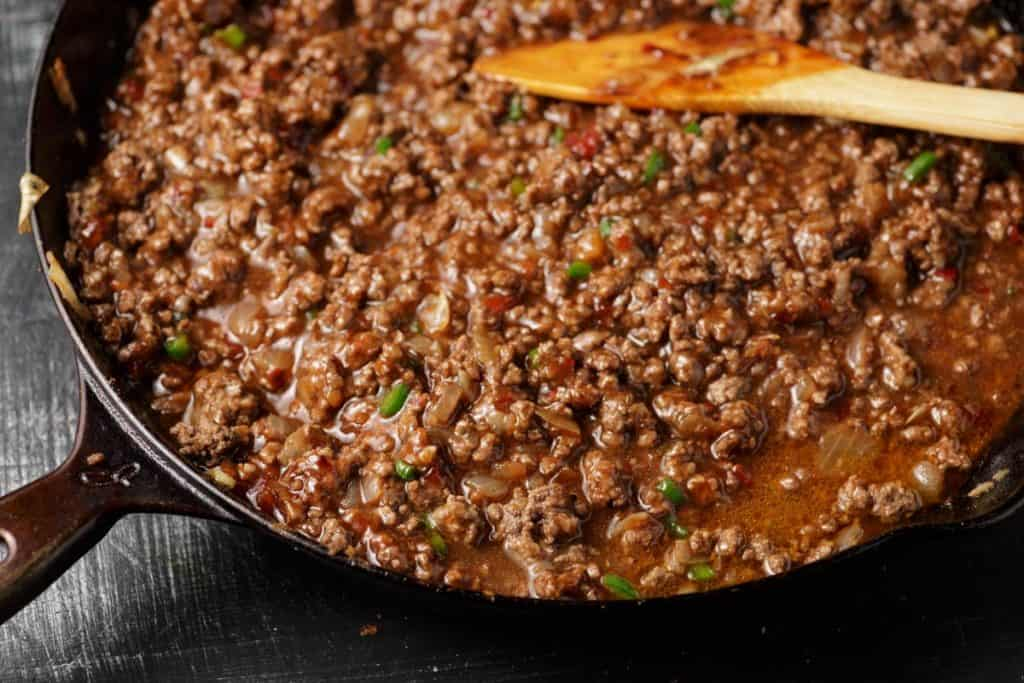 Homemade sloppy joe mixture in a skillet