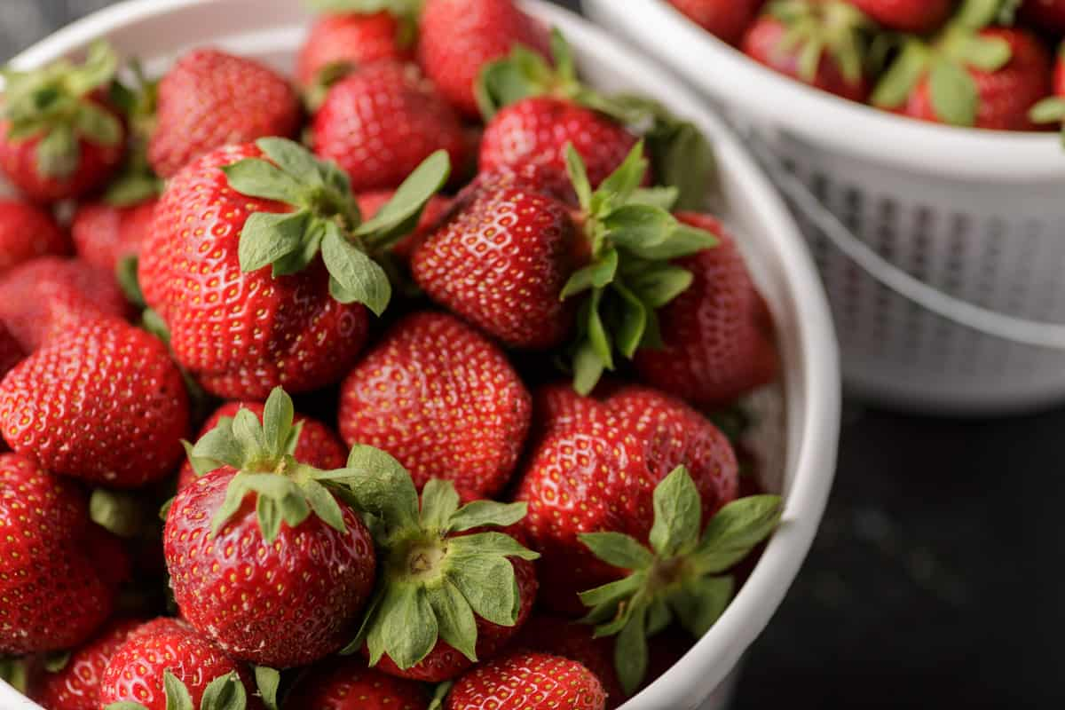A basket of strawberries from the farmers market