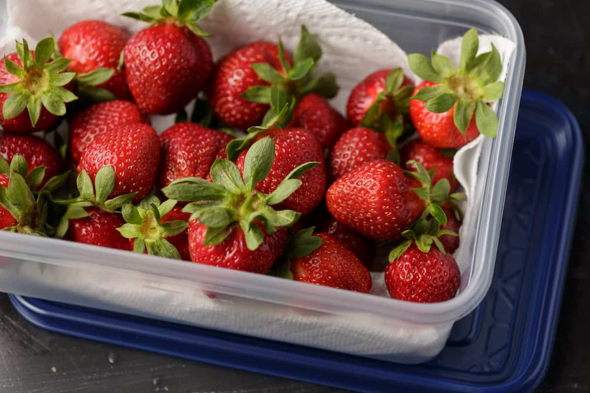 A paper towel lined plastic container filled with strawberries