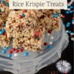 A platter of patriotic brown butter Rice Krispie treats.