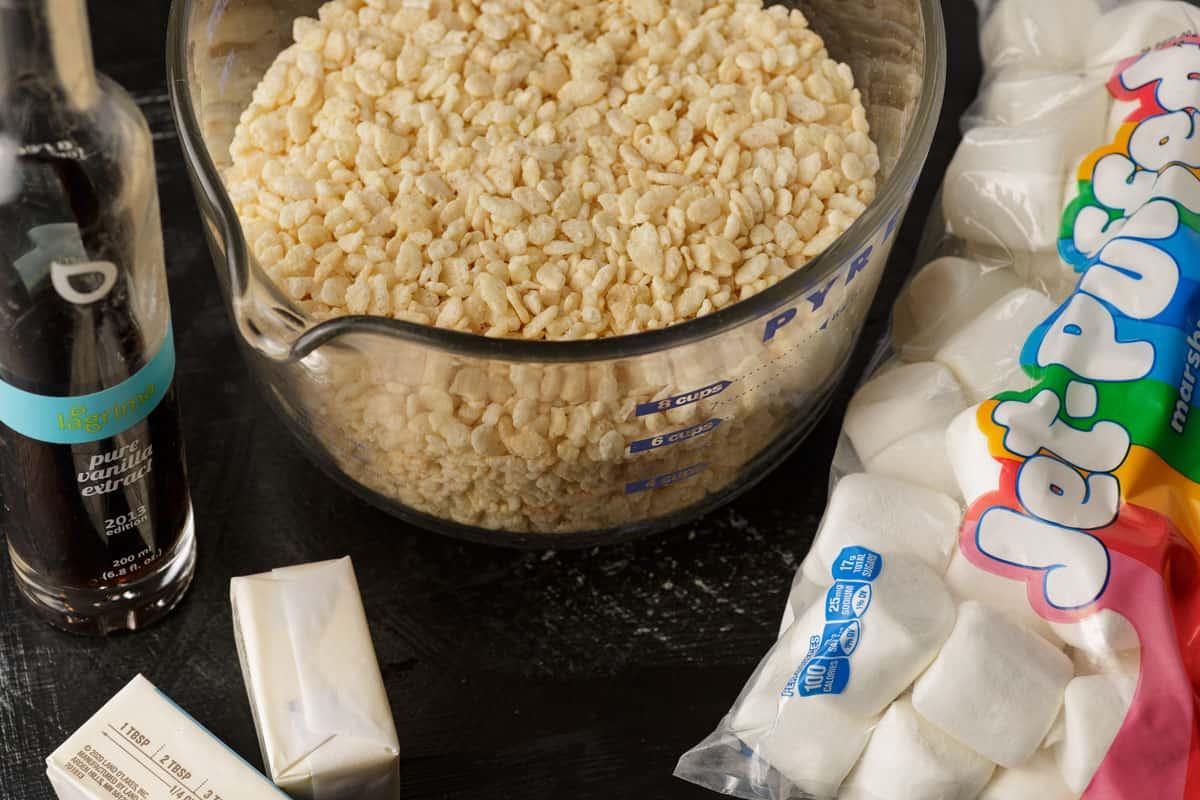 Ingredients for brown butter Rice Krispi treats.