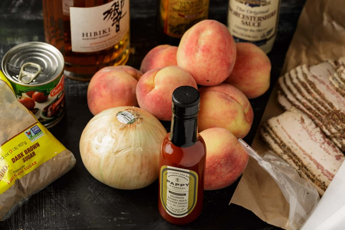 Ingredients for bacon jam with peaches.