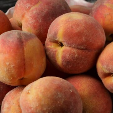 A bowl of peaches from the farmers market