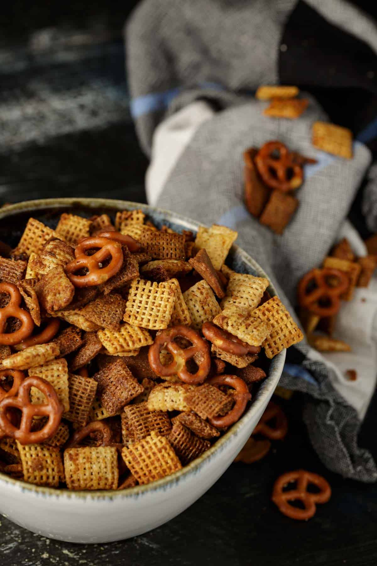 A bowl of homemade Chex mix.