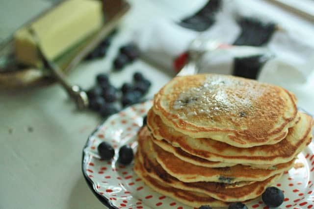 Blueberry Pancakes on plate