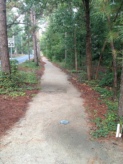 A path on Linden road in Pinehurst NC