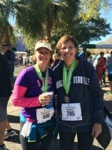 Barbara and Heidi at the finish line