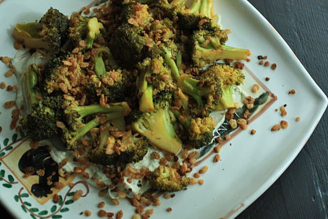 Grilled Broccoli with Blue Cheese and Krispies | Butter and Baggage
