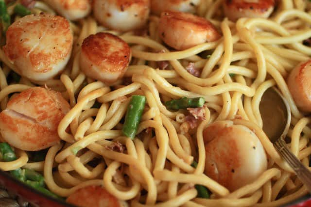 Pasta with Crisped Prosciutto, Aspargaus and Scallops | Butter and ...