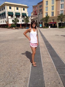 Barbara in a pink running skirt at Disney