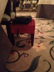 Purse stool at The Ocean Room