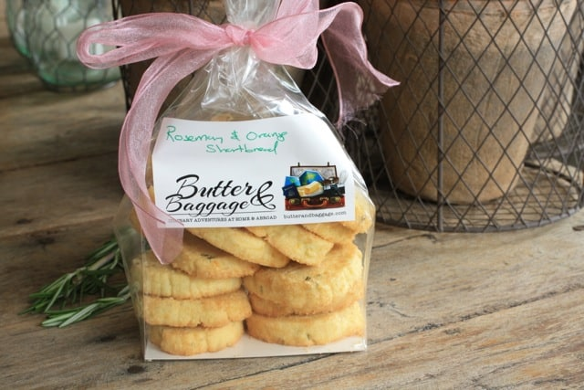 A gift bag of orange rosemary shortbread cookies