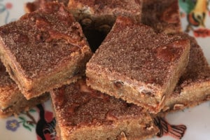 Snickerdoodle Blondies on a plate