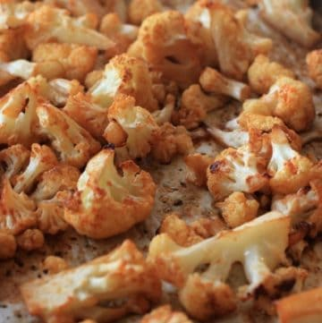 Close-up of Spicy Roasted Cauliflower