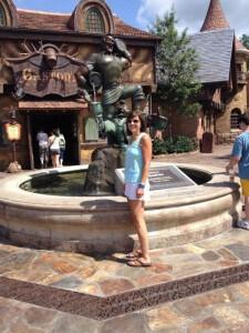 Barbara in a White Running Skirt at Disney